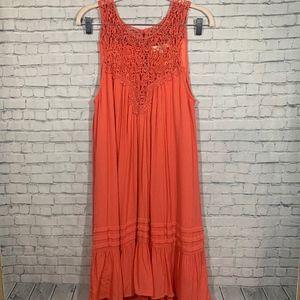 Entro Coral Crochet Sleeveless Dress Size Medium